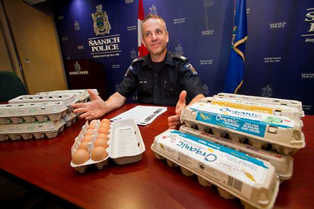 Saanich police Sgt. Dean Jantzen with seized eggs.