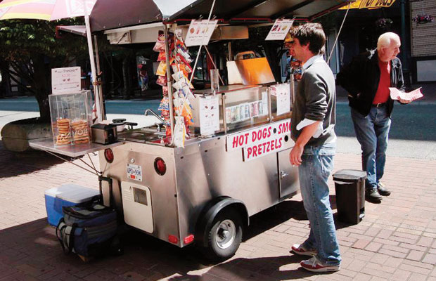 A food cart on Government Street is one of the few now permitted to operate in Victoria.
