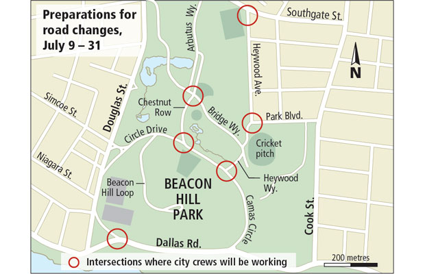 Motor vehicles will be blocked from some routes at Beacon Hill Park