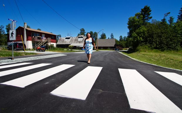 Tseycum First Nation Chief Tanya Jones walks on freshly paved Totem Lane, which branches off West Saanich Road and leads into the reserve.