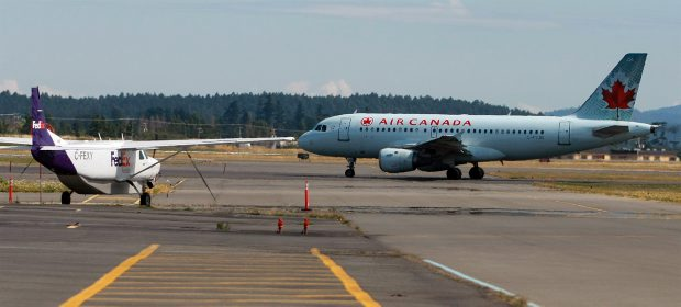 An Air Canada plane at Victoria International Airport.