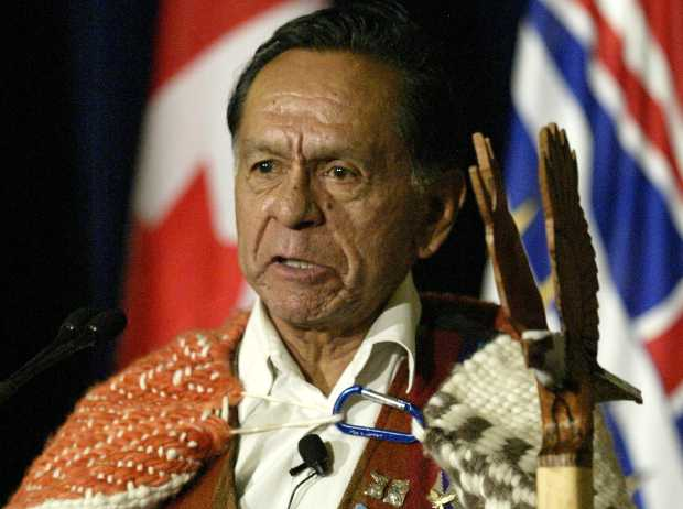Chief Robert Sam of the Songhees First Nation speaks at a settlement agreement ceremony at the B.C. legislature in November 2005.