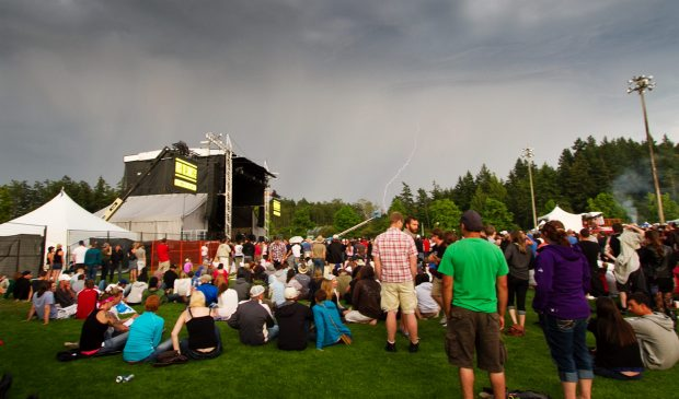 The crowd waits as the Rock the Shores concert is stopped due to weather.