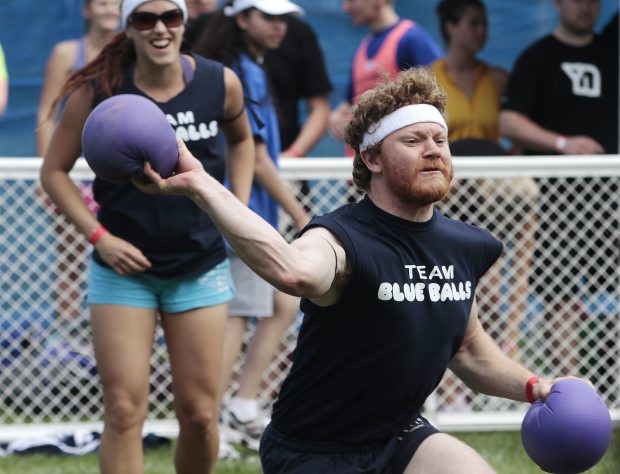 Peter Collins of Team Blue Balls take aim during the 8th Annual Victoria Dodgeball Championships at Royal Athletic Park.