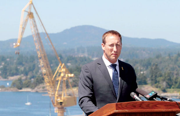 Defence Minister Peter MacKay addresses crowd at CFB Esquimalt on Thursday.