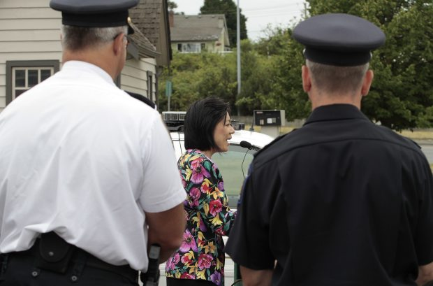 Oak Bay-Gordon Head MLA Ida Chong speaks about the Emergency Intervention Disclosure Act on Tuesday. Chong says the law, which passes May 31, is about keeping front-line workers safe.