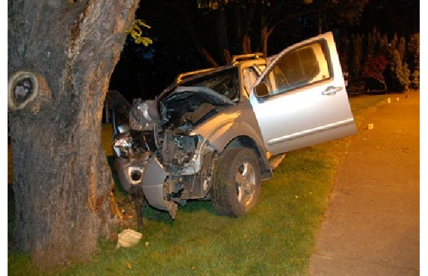 The Nissan pick-up truck was crushed against the tree after a drunk driver crashed on Rocklands Avenue Wednesday morning.