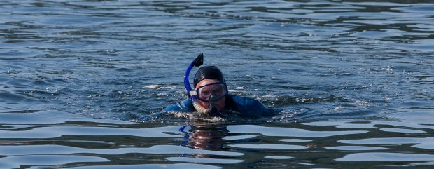 Renate Herberger starts her swim along Saanich Inlet last August. She is repeating the 19-kilometre effort on Sunday.