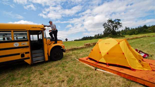 Tents have been erected at Woodwynn Farm without permission from Central Saanich council.