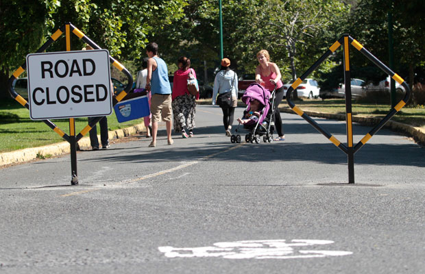 Some roads in Beacon Hill Park are closed to traffic as part of a three-month pilot project that aims to reduce speeding and shortcutting through the park.