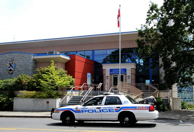A Victoria police car in front of Esquimalt Municipal Hall. Esquimalt council would have preferred an RCMP presence.
