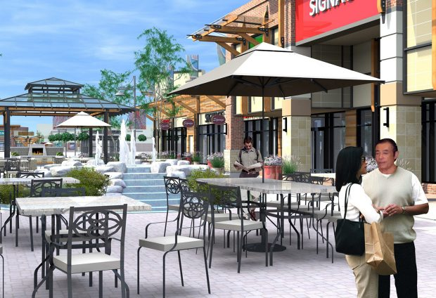 Planned changes to the Broadmead Village Shopping Centre include a new breezeway area with an interactive water feature and an outdoor fireplace. The project will also add 1,900 square feet of retail space to the centre.