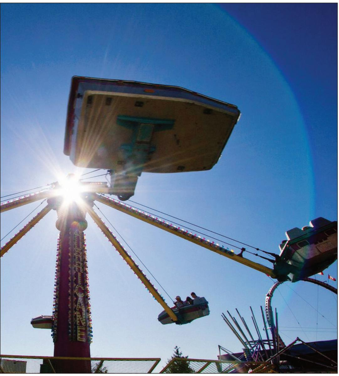 Thrill-seeking fairgoers try out the Hurricane ride at the 2011 Saanich Fair. The midway will be back this weekend.